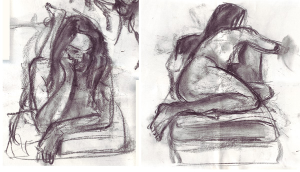 Life drawings, charcoal