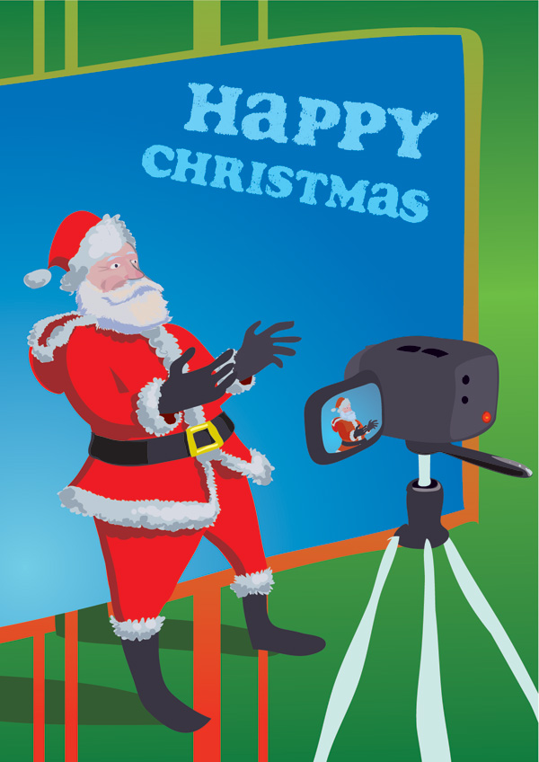 Santa Claus signing for the DCAL video camera, in front of a bluescreen.