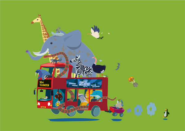 A London double-decker bus, with lots of zoo animals onboard.