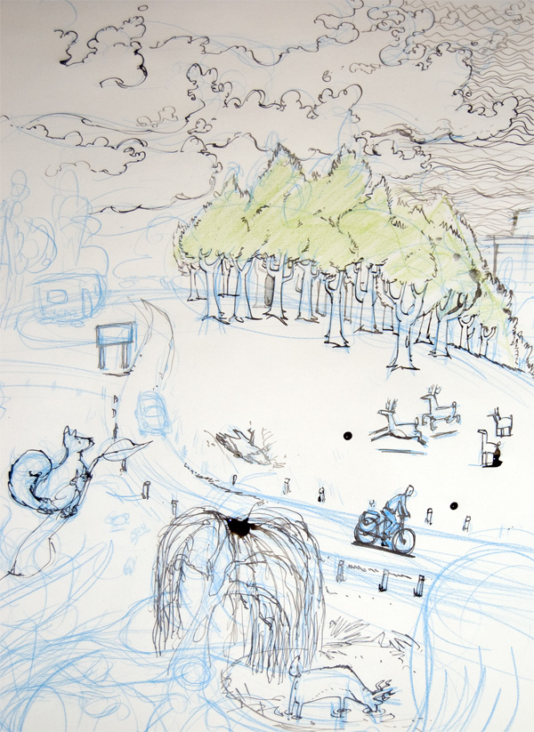 Sketch of Me Cycling Through Richmond Park