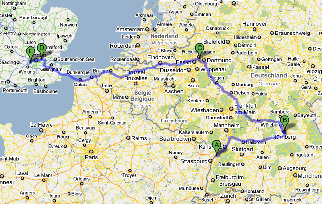 Route of the Cintiq across northwest Europe