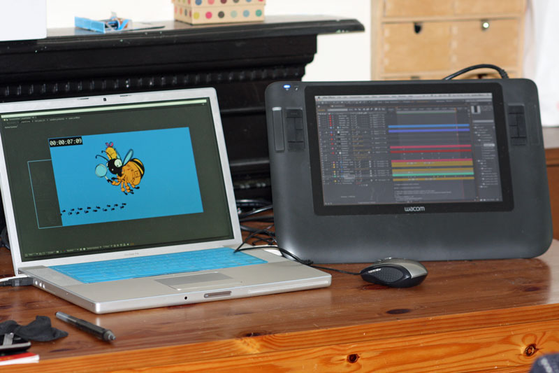 Using After Effects on an ancient Macbook Pro, with a Cintiq as a 2nd monitor
