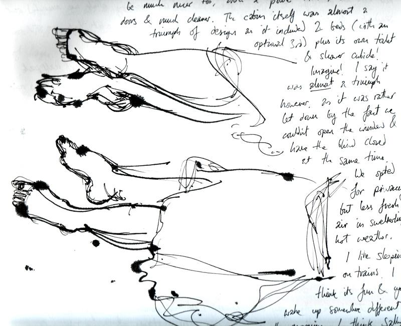 Drawings of feet in a sketch book