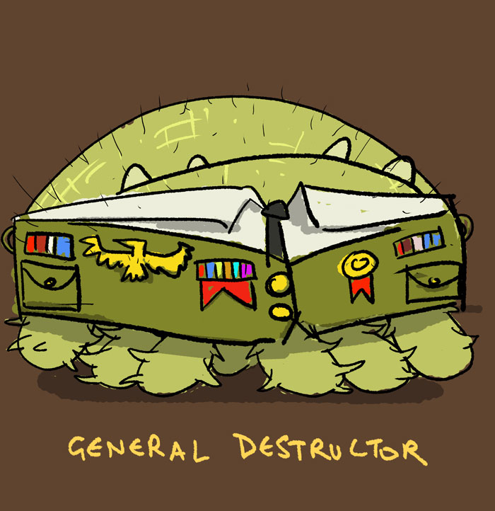 General Destructor, wearing a military uniform, and looking very pompous