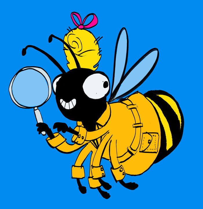 Sophie Bee, flying around with a magnifying glass