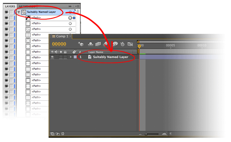 Comparison between a layer in Illustrator, and in After Effects