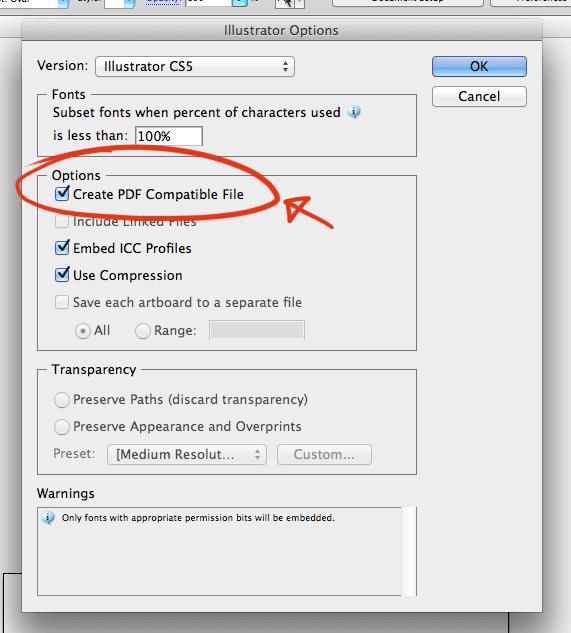 Adobe Illustrator Save File Options