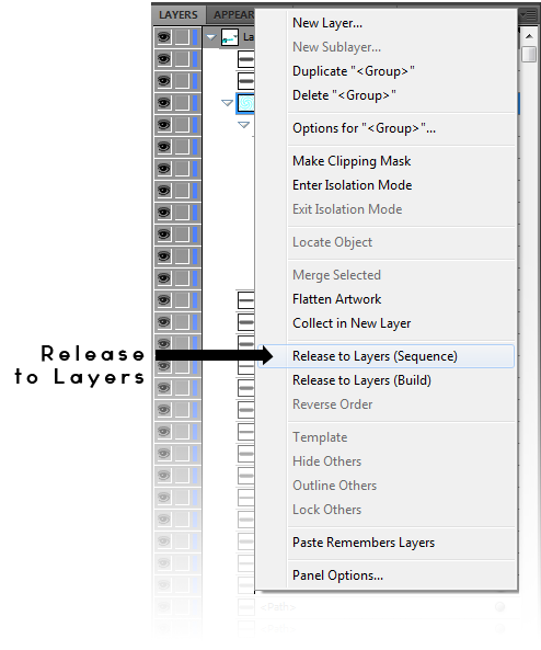 This picture shows where the Release to Layers option is, in the Layers menu, in Adobe Illustrator