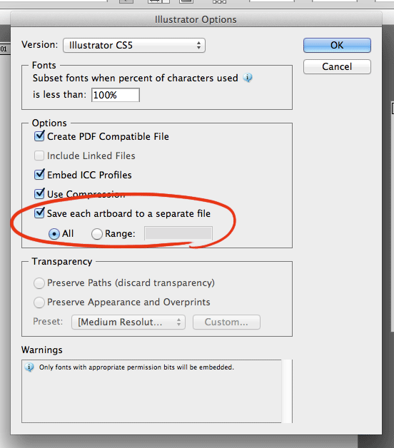 "Illustrator save dialog, showing the ""Save Artboards as Separate Files"" tick box"