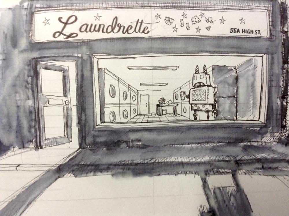 Robot in a laundrette